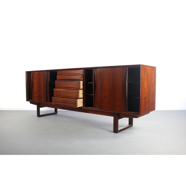 Danish Rosewood Credenza with Sled Legs by Arne Vodder, 1960s Vintage Danish rosewood credenza or sideboard with sled legs...