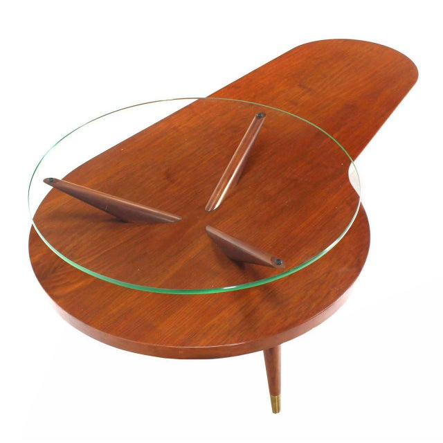 Mid 20th Century Mid Century Modern Walnut Organic Kidney Shape Coffee Table Round Glass Top For Sale - Image 5 of 10