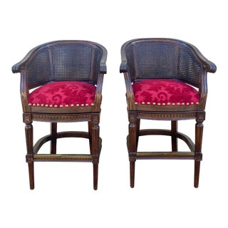 French Louis Neoclassical Style Wood Velvet Brass Cane Back Swivel Stools - a Pair For Sale