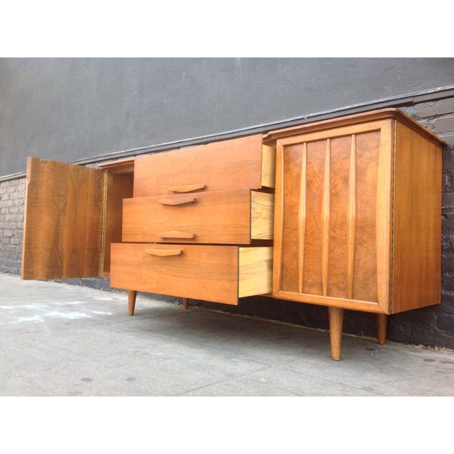 3-Drawer Bird's Eye Maple Credenza For Sale - Image 5 of 7