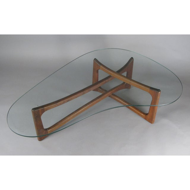 Mid-Century Modern Mid-Century Modern Sculptural Walnut and Glass Cocktail Table by Adrian Pearsall For Sale - Image 3 of 7
