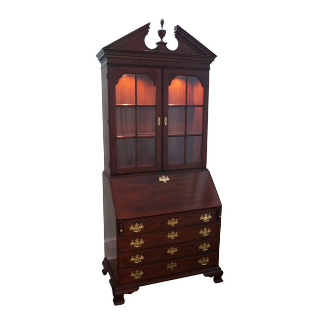 Statton Solid Cherry Chippendale Secretary Desk - Image 1 of 10
