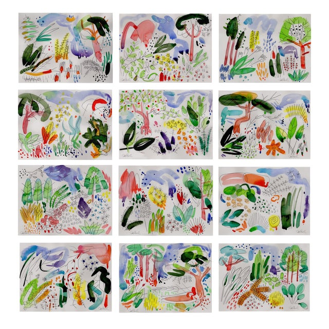 Botanical English Garden Series Watercolor Giclee Prints - Set of 12 For Sale