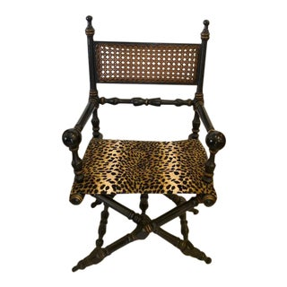 Vintage Directors Chair With Cain and Leopard Upholstery Seat For Sale