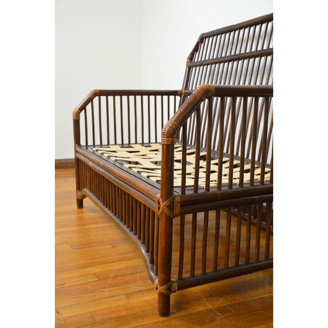 1980s Vintage Rattan Settee in the Manner of Willow and Reed For Sale - Image 12 of 13