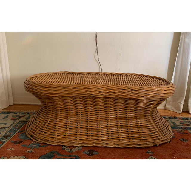 Mid-Century Modern Vintage Wicker Coffee Table For Sale - Image 3 of 8