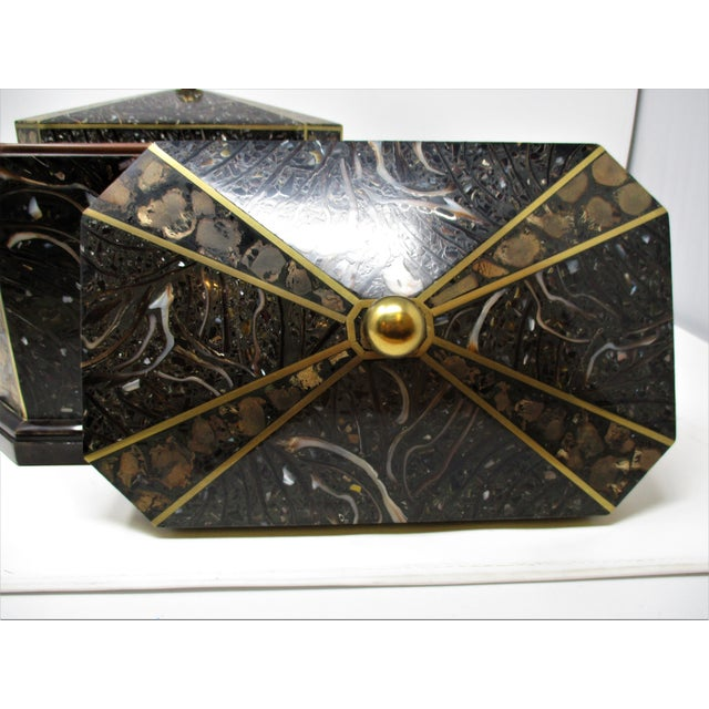 Black Maitland-Smith Inlaid Stone With Brass Accents Boxe For Sale - Image 8 of 11