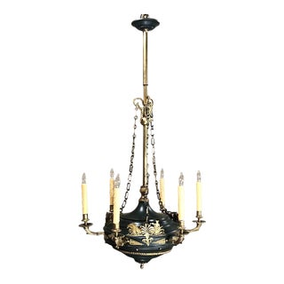 Antique French Empire Bronze & Brass Chandelier For Sale
