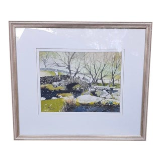 """Late 20th Century """"Slater Bridge in Little Langdale"""" Watercolor Painting by Cyril Driver, Framed For Sale"""