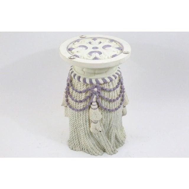 Vintage Plaster Tassel Side Table For Sale - Image 4 of 9