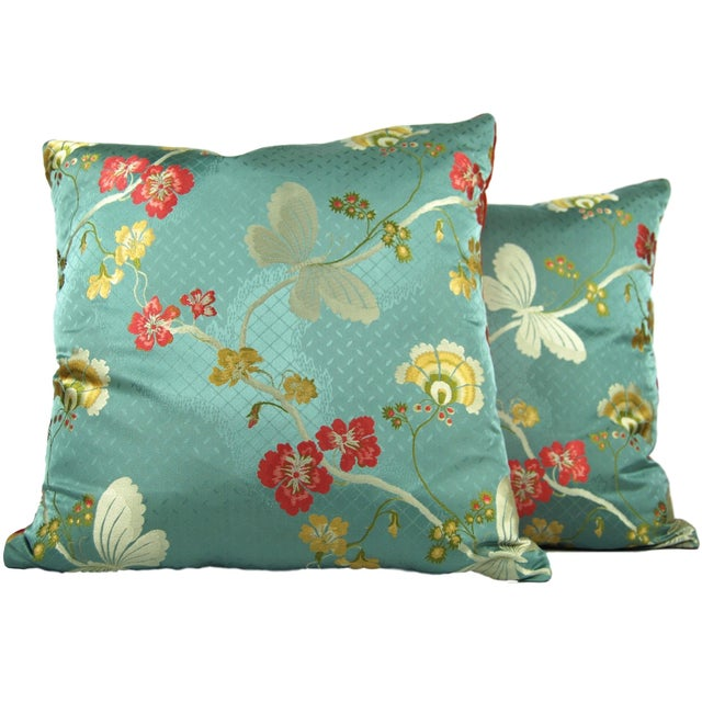Vintage Brocade Butterfly Pillows - A Pair For Sale