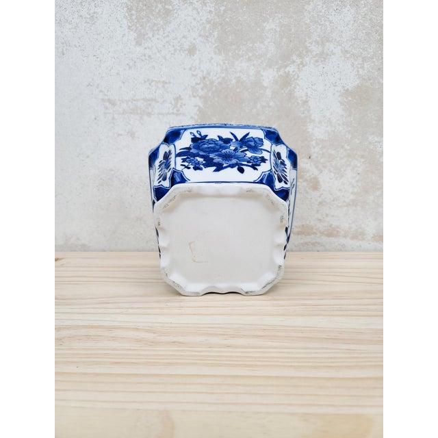 Boho Chic Blue & White Floral Ceramic Planter For Sale - Image 3 of 5