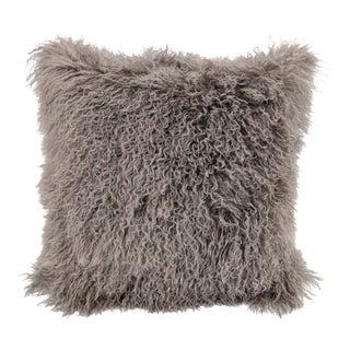Taupe Mongolian Sheepskin Pillow by Tasha Tarno For Sale