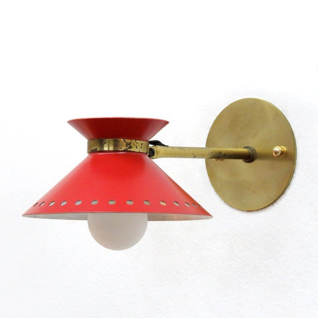 Pair of Red Arlus Wall Lights, 1950s For Sale In Los Angeles - Image 6 of 11