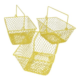 Electric Yellow Bathroom Caddy Baskets - Set of 3 For Sale