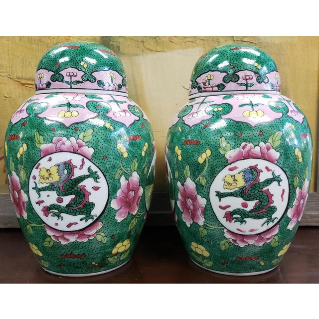 Chinese C. 1880 Chinese Famille Verte Porcelain Enameled Floral/Dragon Motif Ginger Jars - a Pair For Sale - Image 3 of 9
