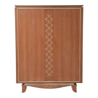 Pierre Petit French Modern Limed Oak and Parchment Tall Cabinet, 1940s For Sale