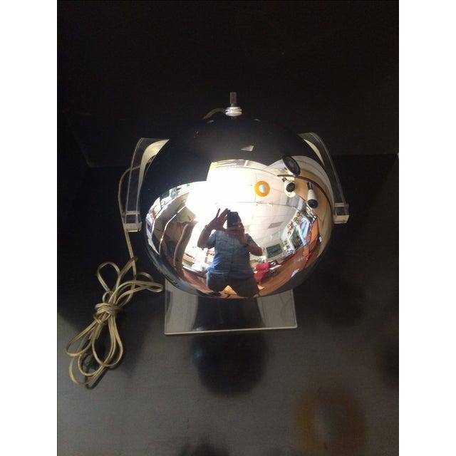 Chrome Eyeball & Lucite Lamp by Robert Sonneman For Sale - Image 6 of 7