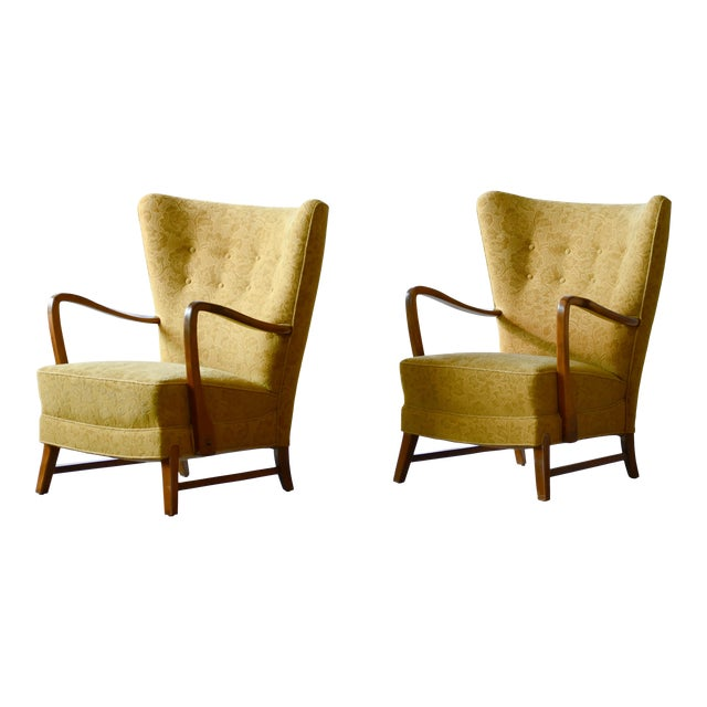 Danish 1940s Midcentury Fritz Hansen Style High Back Lounge Chairs - a Pair For Sale