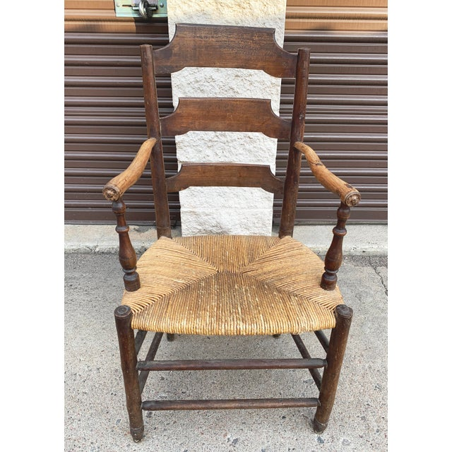 Early 19th Century French Ash Wood Rush Seat Armchair For Sale - Image 11 of 11