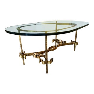 1950s Brutalist Spanish Gilt Iron Glass Coffee Table For Sale