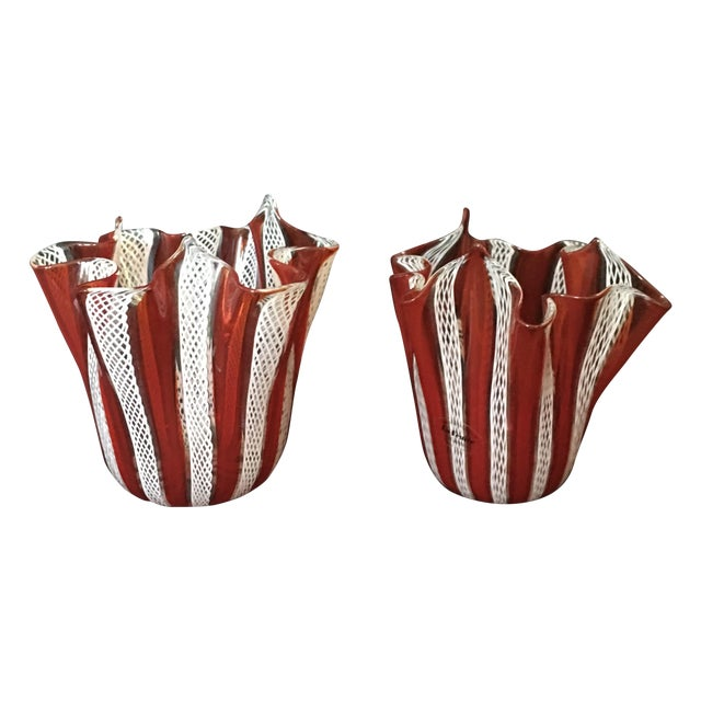 Venini Murano Handkerchief Vases - A Pair - Image 1 of 9