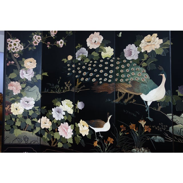 Exquisite, hand painted six panel Peacock screen. Very refined, delicately carved and painted with suble colors on black...