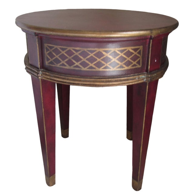 Round Red & Gold Painted End Table - Image 1 of 3