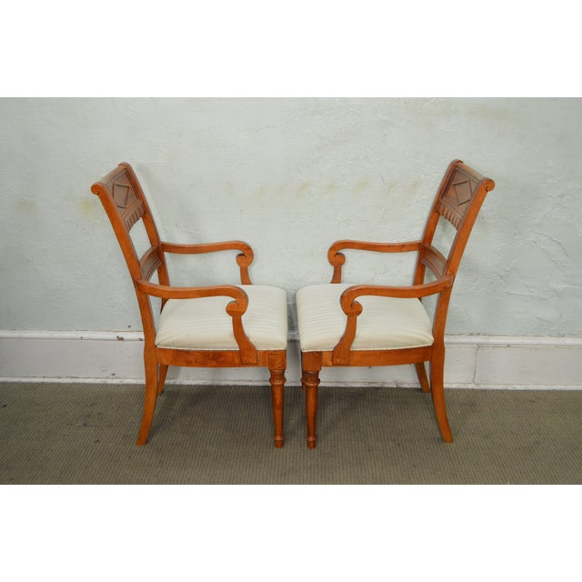 Traditional Lexington Regency Style Set of 4 Cherry Wood Arm Chairs For Sale - Image 3 of 10