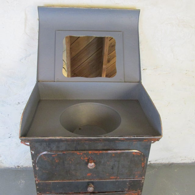 Industrial Antique Riveted Steel Campaign Style Vanity and Wash Basin For Sale - Image 3 of 13