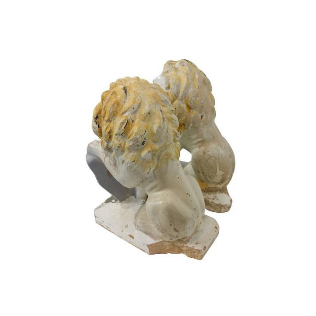 Painted Concrete Garden Lion Statues - a Pair For Sale - Image 9 of 9