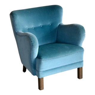 1940s Danish Mogens Lassen Attributed Lounge Club Chair in Mohair For Sale