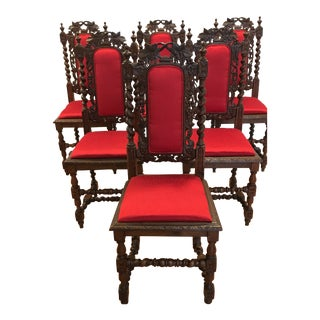 Late 19th Century Antique Dining Chairs- Set of 6 For Sale
