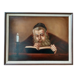 "1985 Judaica ""Rabbi Writing by Candlelight"" Oil Painting on Masonite Board Signed Nissan For Sale"