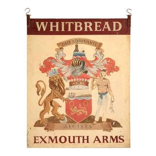 Vintage Exmouth Arms Original English Pub Sign For Sale