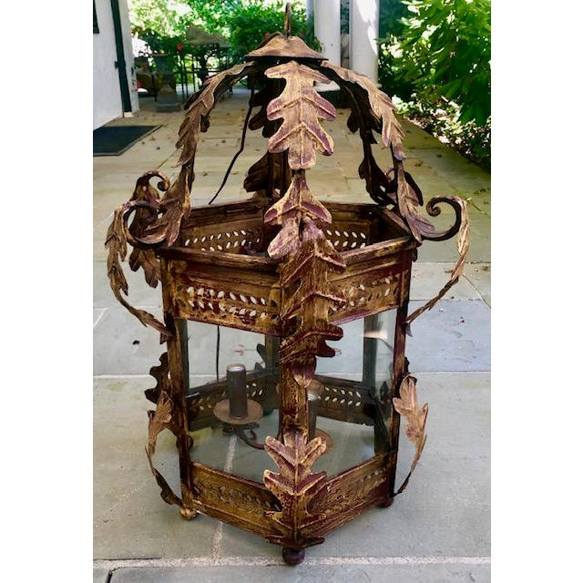 Two Worlds Arts Custom Large Scale Gilt Tole Chandelier/Hall Lantern For Sale - Image 13 of 13
