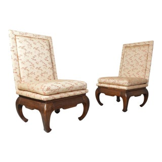 Chinese Ming James Mont Style Chinoiserie Occasional Chairs Having Chong Legs For Sale