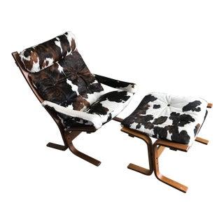 "Custom Cowhide Westnofa ""Siesta"" Chair and Ottoman For Sale"