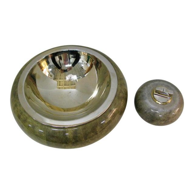 Brass Bowl With & Cigarette Lighter Set, Jade Green Goat Skin by Aldo Tura For Sale
