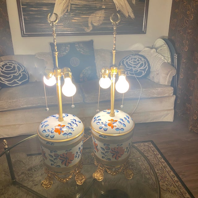Antique Sevres Porcelain & Ormolu Marbro Lamps -a Pair For Sale - Image 11 of 13
