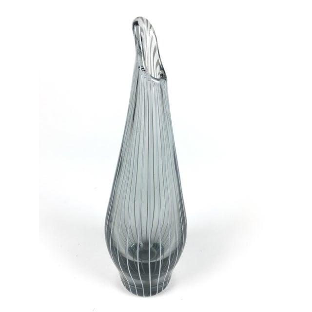 Vintage Black Clear Glass Blown Vases A Pair Chairish
