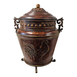 Large Decorative Stamped Metal Container With Lid