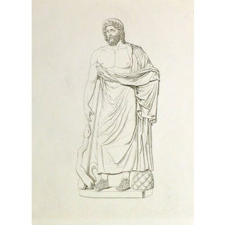 Antique Italian Copper Engraving - Male Statue With Snake For Sale