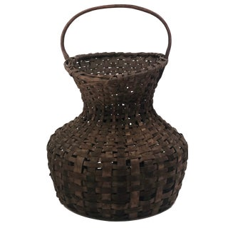 Antique New England Hourglass Shaped Dark Splint Basket For Sale
