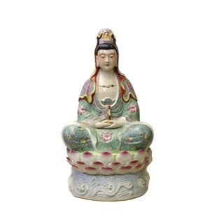 Chinese Fujian South China Multi Color Porcelain Kwan Yin Bottle Statue For Sale