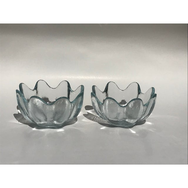 Blenko Blenko Crystal Clear American Art Glass Lotus Bowls - A Pair For Sale - Image 4 of 6