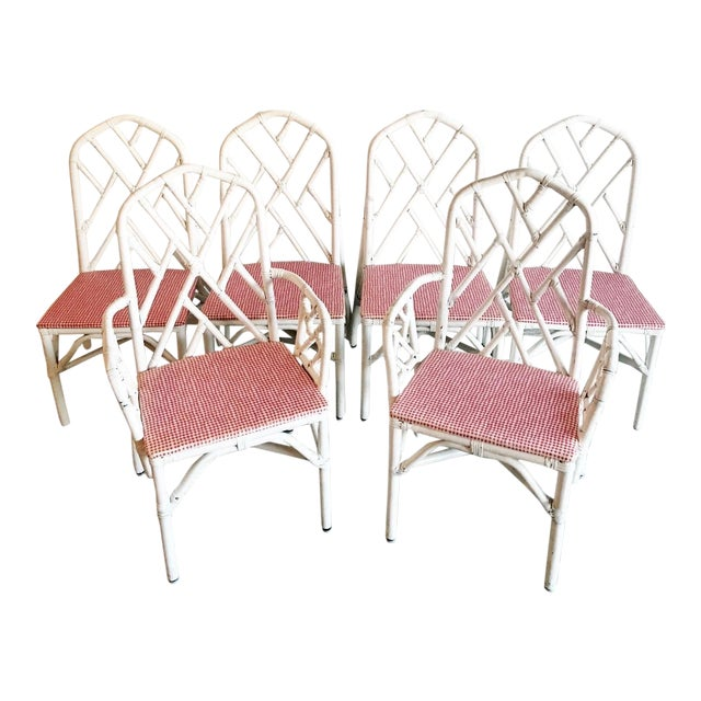 1960s Chippendale Rattan Chairs- Set of 6 For Sale