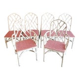 Image of 1960s Chippendale Rattan Dining Chairs- Set of 6 For Sale