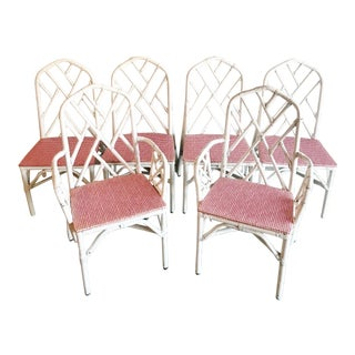 1960s Vintage Chippendale Rattan Chairs- Set of 6 For Sale