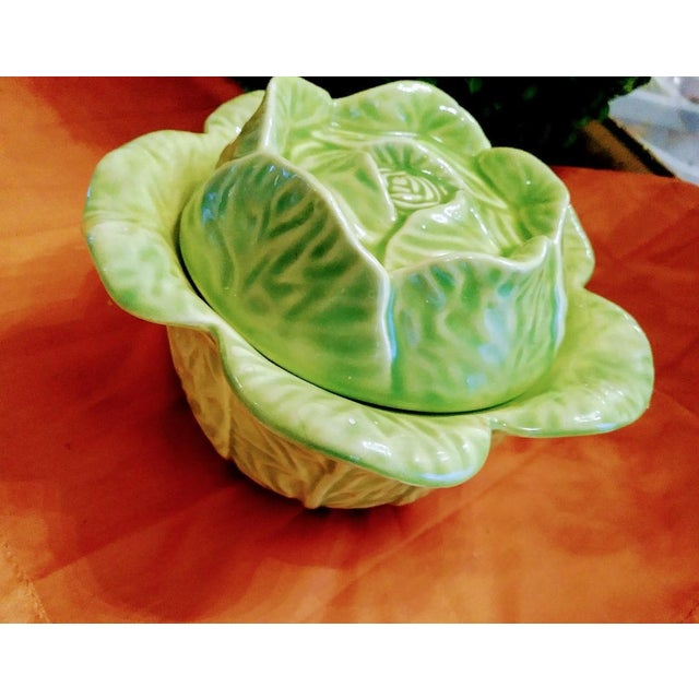 Small and Sweet Ceramic Green Cabbage Sugar Bowl Server For Sale - Image 4 of 6